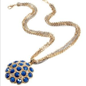 Goldtone & Blue Lapis Austrian Crystal Pendant